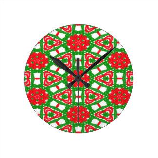 Rote, weiße und grüne Kaleidoskope 3372 Runde Wanduhr