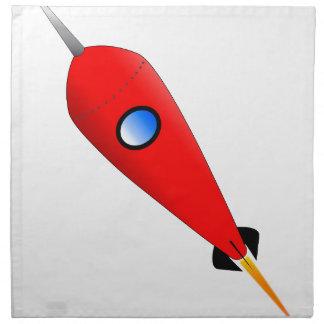 Rote Weltraumrakete Serviette