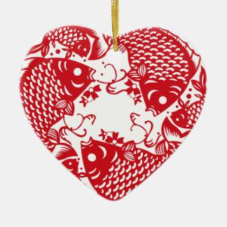 Rote Whirling Koi Karpfen-Fisch-Gruppe Keramik Herz-Ornament