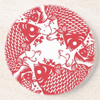 Rote Whirling Koi Karpfen-Fisch-Gruppe Sandstein Untersetzer
