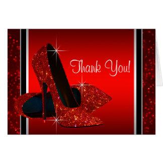 Roter Absatz-Schuh danken Ihnen Mitteilungskarte