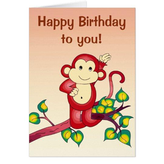 Roter Affe-Tier-Geburtstag Karte