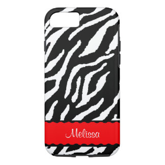 Roter Akzent mit weißem und schwarzem Tiger iPhone 7 Hülle