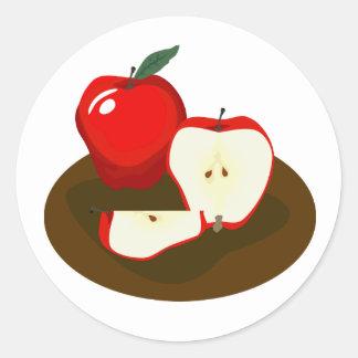 Roter Apfel-Aufkleber Runder Aufkleber