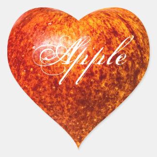 Roter Apfel Herz-Aufkleber