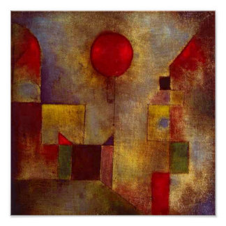 Roter Ballon-buntes abstraktes Pauls Klee Poster