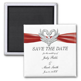 Roter Band-Silber-Schwan-Save the Date Magnet