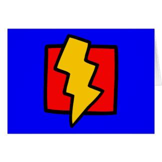 Roter blauer und gelber Blitz-Bolzen Karte