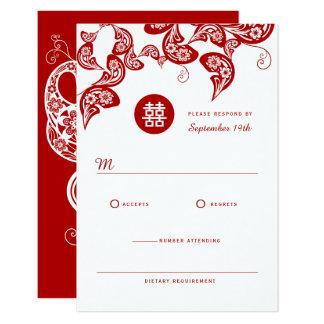 Roter BlumenBoho Pfau-chinesische Hochzeit UAWG 8,9 X 12,7 Cm Einladungskarte
