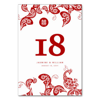 Roter Blumenpaisley-Pfau-elegante chinesische Karte