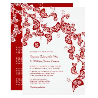 Roter Blumenpfau-elegante chinesische Hochzeit 12,7 X 17,8 Cm Einladungskarte