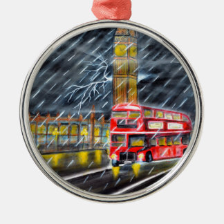 Roter Bus im London-Nachtregen Silbernes Ornament