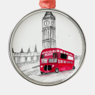 Roter Bus London Silbernes Ornament