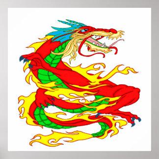 Roter chinesischer Drache Poster
