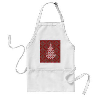 Roter Damast-Weihnachtsbaum Schürze