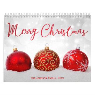 Roter Dekor-frohe Weihnacht-Foto-Kalender Kalender