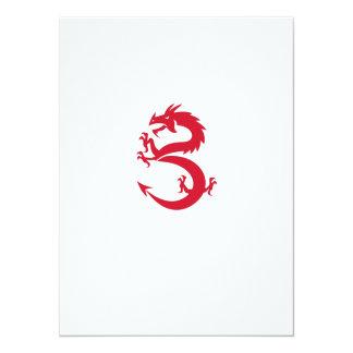 Roter Drache-tänzelnde Silhouette Retro 14 X 19,5 Cm Einladungskarte