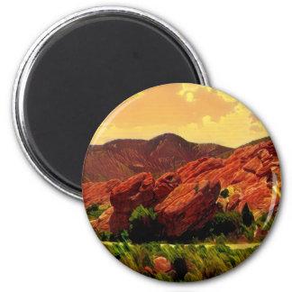 Roter Felsen-Park Denver Colorado Runder Magnet 5,1 Cm