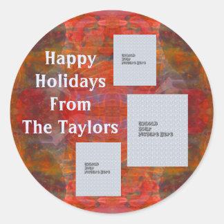 Roter Foto-Schablonen-Feiertags-Aufkleber der Runder Aufkleber