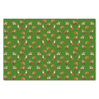 Roter Fox-Familien-Seidenpapier-Grün Seidenpapier