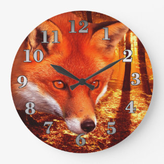Roter Fox Große Wanduhr