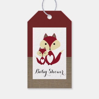 Roter Fox-Leinwand-Babyparty Geschenkanhänger
