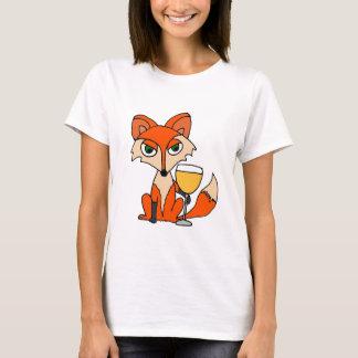 Roter Fox mit weißer Wein-Glas T-Shirt