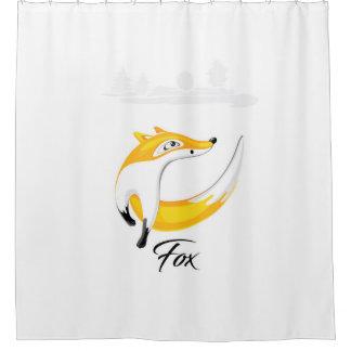 Roter Fox, schauend weg auf Natur-Hintergrund Duschvorhang