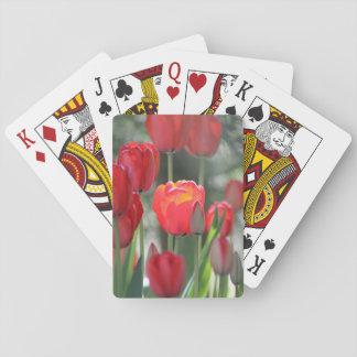 Roter Frühlings-Tulpe-Spielkarten Spielkarten