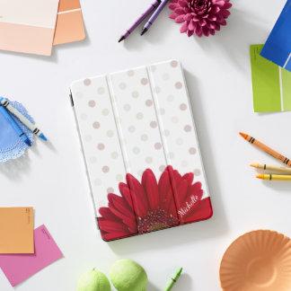 Roter Gänseblümchen-Tupfen mit Namen iPad Pro Cover