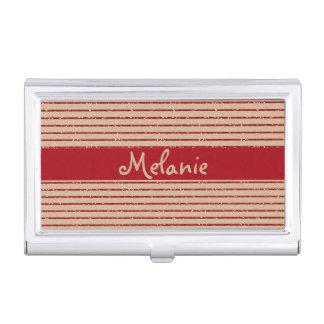 Roter Glitter-gestreifter Geschäfts-Kartenhalter Visitenkarten Dose