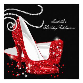 Roter Glitter-hoher Heels-schwarzes Quadratische 13,3 Cm Einladungskarte