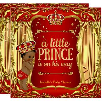 Roter GoldAfroamerikaner Prinz-Babyparty Karte