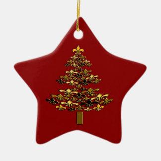 Roter GoldLilien-Weihnachtsbaum-Stern Keramik Stern-Ornament
