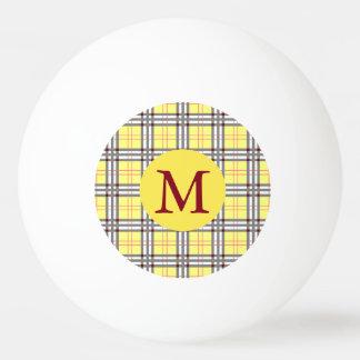 Roter, grauer und gelber Tartan-kariertes Ping-Pong Ball