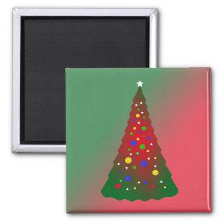 Roter grüner fröhlicher Weihnachtsbaum Quadratischer Magnet
