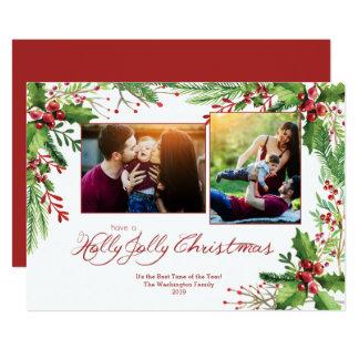 Roter grüner StechpalmeWatercolor zwei 2 12,7 X 17,8 Cm Einladungskarte