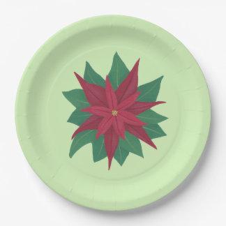 Roter grüner Weihnachtspoinsettia-Papier-Teller Pappteller