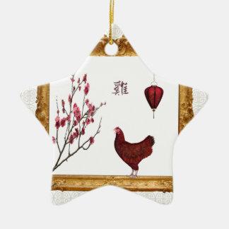 Roter Hahn-, Laternen-und Pflaumen-Baum im Keramik Stern-Ornament