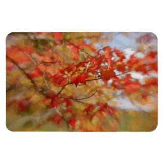 Roter Herbst verlässt abstrakte Malerei Eckiger Magnet