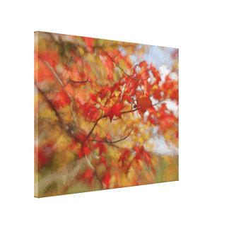 Roter Herbst verlässt abstrakte Malerei Gespannter Galeriedruck