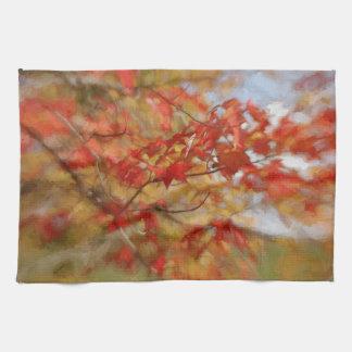 Roter Herbst verlässt abstrakte Malerei Handtücher