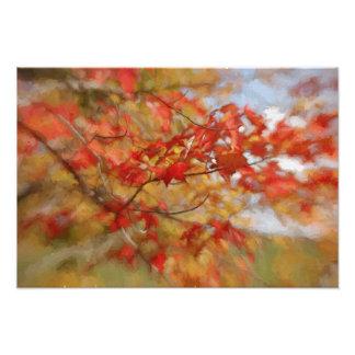 Roter Herbst verlässt abstrakte Malerei Photo Druck