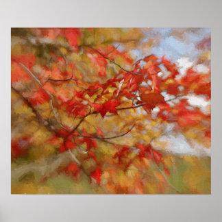 Roter Herbst verlässt abstrakte Malerei Poster
