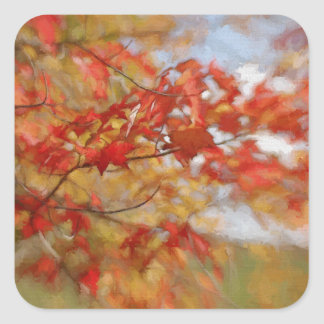 Roter Herbst verlässt abstrakte Malerei Quadrat-Aufkleber
