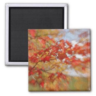 Roter Herbst verlässt abstrakte Malerei Quadratischer Magnet