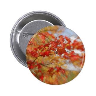 Roter Herbst verlässt abstrakte Malerei Runder Button 5,7 Cm