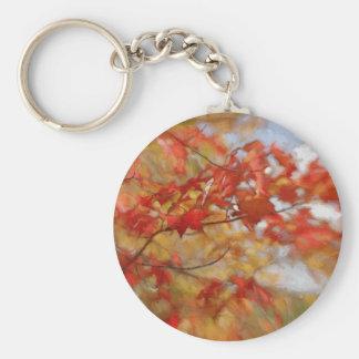 Roter Herbst verlässt abstrakte Malerei Standard Runder Schlüsselanhänger