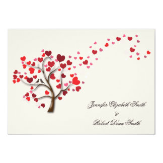 Roter Herz-Baum auf Elfenbein-Hochzeit 12,7 X 17,8 Cm Einladungskarte