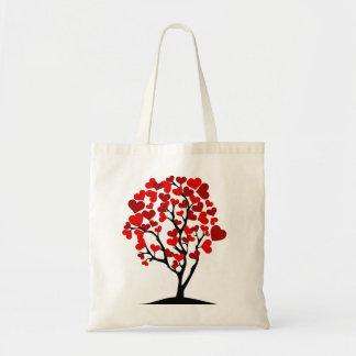 Roter Herz-Baum Tragetasche
